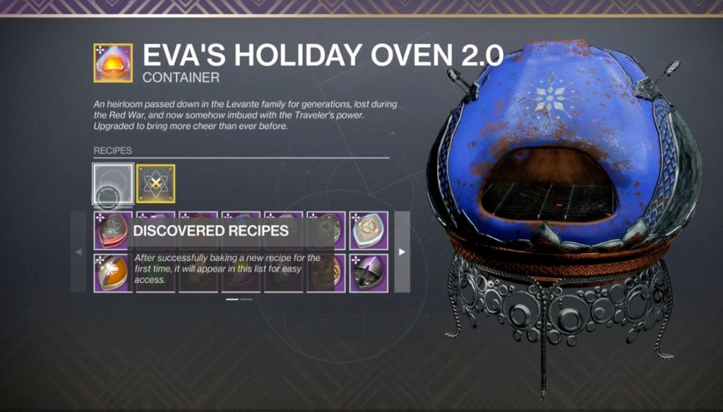 Destiny 2 Dawning Recipes 2020