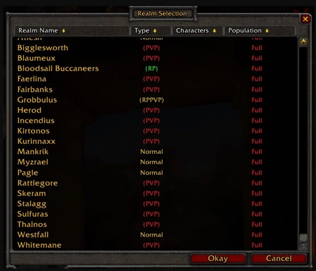 WoW Classic Population Realm